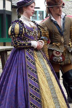 Tudor Costume renaissance blue and gold Mode Renaissance, Costume Renaissance, Medieval Costume, Renaissance Fashion, Renaissance Clothing, Medieval Dress, Bristol Renaissance Faire, Italian Renaissance Dress, Elizabethan Costume