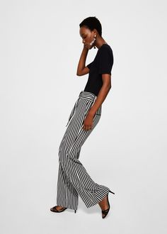 b967e675ae3f Mango Striped Palazzo Trousers - Women