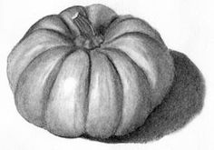 Value! Without value, 2-D. Excellent with value and shading, showing us a 3-D pumpkin. That's what value's for, after all. Shape/Form in the pumpkin.