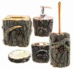 Double Black Bear Tree Bark Pinecone Waste Basket Trash Can Rustic Bathroom Trees Coolers