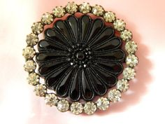 Late 19th Century Black Glass Button with a Paste Stone Border