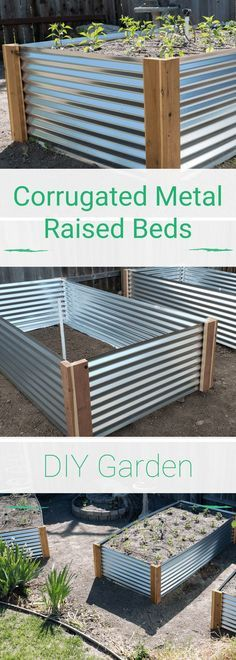 #DIY #GardenDesign Corrugated Metal #RaisedBeds - learn how to make your own raised beds and grow your food in style! #home #gardens #gardeningtips