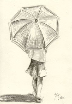 Girl with Umbrella - 4x6 - Pencil Study on Etsy, $20.00 | Drawing With Pencil, Pencil Drawings Of Girls, Simple Pencil Drawings, Pencil Shading, Drawings Of People Easy, Simple Horse Drawing, Pencil Sketches Simple, Easy Drawings Sketches, Simple Doodles Drawings