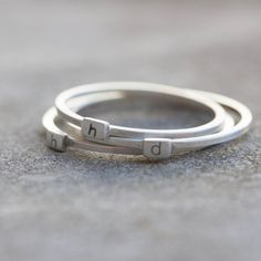 Initial ring  Sterling silver stackable ring  low by keepityours
