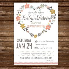 Printable Floral Heart Baby Shower Invitation by LucyNicoleToo