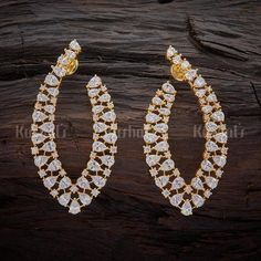 Trendy zircon earrings studded with white sparkling stones, plated with gold polish and made of copper alloy #zircon #earrings #jewellery #kushalsfashionjewellery #trendy