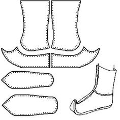 Traditional Mongol Boot/Gutal (Speculative)    I have no solid source for this design, other than examining photographs.  There are a number of detail differences between this interpretation and the version I had placed on this site previously. From Footwear of the Middle Ages - Historical Shoe Designs/Number 46, by I. Marc Carlson. by Sandra Borges