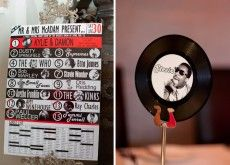 Vintage record wedding name places