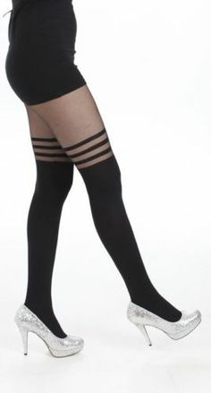 WOW Opaque Sheer 3 Hoops Tights PIN UP Burlesque Gothic Vamp Roller Derby | eBay