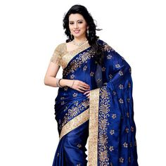 Royal #Blue Faux Satin Chiffon #Saree with Blouse