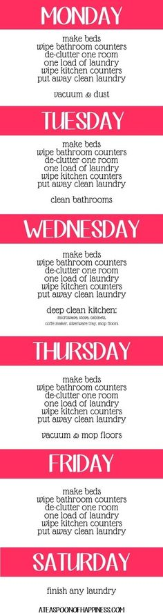 Weekly cleaning list, plan to adapt this to my crazy work schedule :) by vicki
