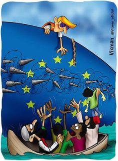 Crisis de los refugiados en Europa. La hipocresía de Europa.La hipocresía del gobierno español en la crisis de los refugiados. La solidaridad del pueblo español. Caricatura de Vicman.#crisis #refugiados #Siria #hipocresia #Europa #España #solidaridad #pueblo #español