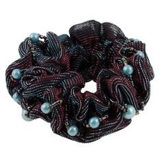 Burgundy Blue Ruffles Elastic Ponytail Holder Hair Tie for Ladies *** See this great product.