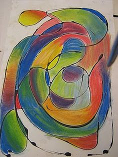 From Art in the Middle School.  Abstract color mixing.  Try with 5's.