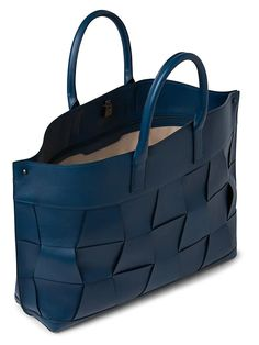Akris Medium AI Braided Leather Tote | SaksFifthAvenue Medium Tote, Braided Leather, Blue Bags, Calf Leather, Messenger Bag, Shoulder Strap, Braids, Pure Products, Convertible