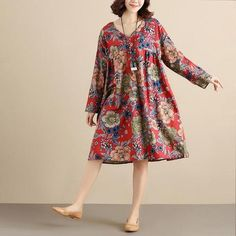 Retro Printing V Neck Long Sleeves Splicing Loose Women Red floral Dress