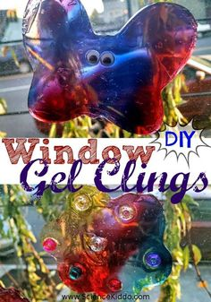 DIY Taste-Safe Window Gel Clings. Vibrant, beautiful window decorations for any time of the year! Easy to make with three edible ingredients. Awesome activity to do at home with kids.