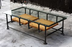 Industrial Iron Pipe Coffee Table w. Glass Top and Hardwood