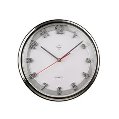 Wall Clock, Chrome Effect/Silver, Plastic