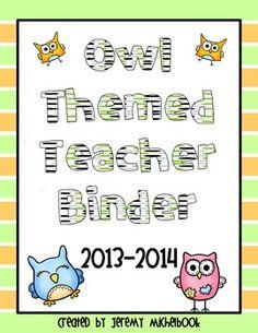 A teacher binder for an owl themed classroom.
