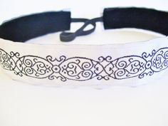 Jacquard+Black+Scroll+on+White+No+Slip+Headband+by+SlipNotHeadware,+$10.00