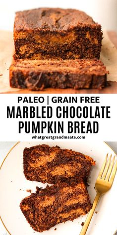 This marbled paleo chocolate pumpkin bread is so moist and delicious and so easy to make using canned pumpkin! It's the perfect treat to welcome the cooler weather. Chocolate Pumpkin Bread, Paleo Pumpkin Bread, Paleo Chocolate, Gluten Free Pumpkin, Canned Pumpkin, Chocolate Club, Paleo Bread, Yeast Bread, Pumpkin Dessert