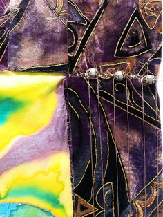 This is a textile artwork & tribute to Jimi Hendrix which includes 100% silk, embroidery, beaded embellishments and woolen yarn.