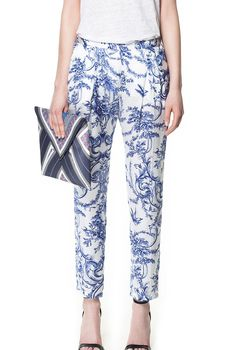 Blue and White Porcelain Straight Pant