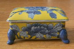 Deep Yellow and Blue China Box - Unusual! Gorgeous!!!