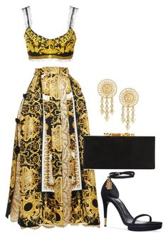 A fashion look from December 2017 featuring patterned skirts, Versace and stilettos shoes. Browse and shop related looks. Boujee Outfits, Kpop Fashion Outfits, Stage Outfits, Polyvore Outfits, Classy Outfits, Stylish Outfits, Versace Fashion, Look Fashion, Fashion Design
