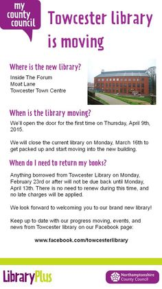 Not long now until Towcester's new library opens!