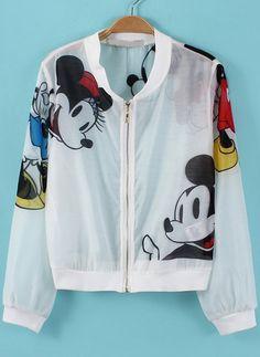 White Long Sleeve Mickey Print Crop Jacket 19.67
