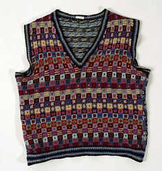 Sweater (Vest)  Kaffe Fassett  (British, born United States)    Date:      mid-1980s  Culture:      British  Medium:      wool  Dimensions:      Length at CB: 21 in. (53.3 cm)  Credit Line:      Gift of John A. Torson, 1999  Accession Number:      1999.474    This artwork is not on display
