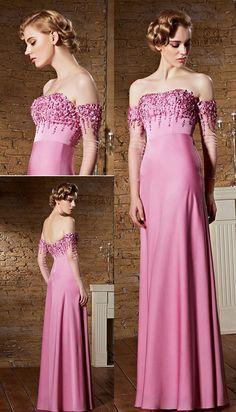 Robe haute couture fuchsia claire avec manches mi longue épaules dénudées - JMRouge.fr