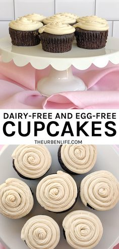 Quick and easy recipe for dairy-free and egg-free cupcakes Best Dessert Recipes, Cupcake Recipes, Fun Desserts, Vegan Desserts, Dinner Recipes, Vegan Chocolate Cupcakes, Chocolate Recipes, Dairy Free Recipes, Vegan Recipes