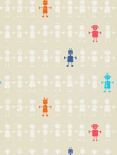 Reggie Robot, a feature wallpaper from Harlequin, featured in the All About Me collection.