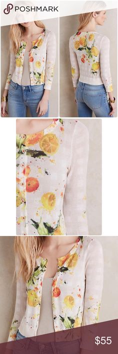 """Anthropologie Citron Cardigan by HWR Super lighter Citron Cardigan by HWR Anthropologie ❤️.  Perfect for spring/summer. Body: 85% cotton, 13% nylon, 2% spandex Retail: $ 128 Cotton, nylon, spandex Button front Hand wash Imported  Measurements: measured flat, unstretched Bust under arms: 18"""" length 25"""" approx Anthropologie Sweaters Cardigans"""