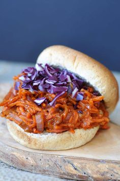 Pulled BBQ-Carrots with Homemade BBQ Sauce! Yes! This recipe is made with carrots and red onion.  www.veganosity.com