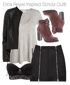 """""""Erica Reyes Inspired School Outfit"""" by staystronng ❤ liked on Polyvore featuring American Vintage, Yves Saint Laurent, Charlotte Russe, Maglie I Blues, Mojo Moxy, school, EricaReyes and tw"""