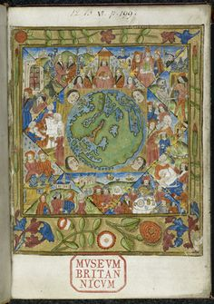 Royal 12 B VI f1. Horoscope for the day the world was created, including a world map within an astrological chart and personifications of winds, surrounded by 12 triangles with symbolic scenes representing aspects of life associated with the twelve astrological houses.  The world map is a loose copy of the world map printed by Francesco Rosselli in Florence in 1492-3, which was copied from Henricus Martellus map (Additional 15760 f. 69). England, S. E (London)