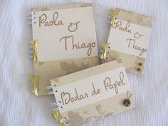 Kit Bodas de Papel.  álbum, caderno e bloco de anotações.