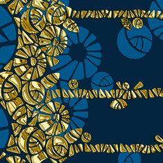 Papiers peint-Panneaux muraux-Parements-Désign géométrique   Conception géométrique bleu et or-wallunica