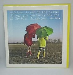 Friend friendship quote greeting card blank inside new with envelope