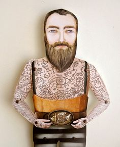 Tattooed Bearded Man Paper Doll Puppet - Sir Kyle, Victorian Forest Lumberjack on Etsy, $25.00