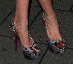 Lindsay Lohan in Tacky Metallic Dress and Snakeskin Pumps