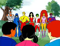 Character designs for proposed 1983 Hanna-Barbera New Teen Titans Series.