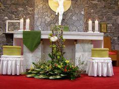 Daum 블로그 - 이미지 원본보기 Alter Flowers, Church Flowers, Altar Decorations, Christmas Decorations, Floral Arrangements, Flower Arrangement, Wedding, Furniture, Home Decor