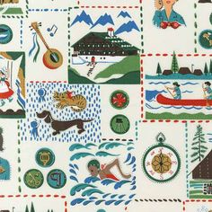 Retro Girl Scout Fabric by Robert Kaufman in by sentimentalbaby