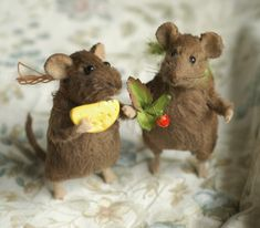 Stuffed Animals by Natasha Fadeeva - mouse with cheese and mouse with berries