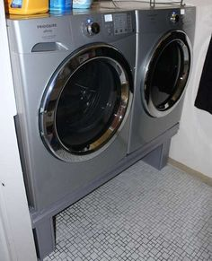 So like many others, I decided to build my own washer/dryer pedestals for my new front loader washer and dryer, because the factory ones are a rediculous. Washer And Dryer Pedestal, Laundry Pedestal, Laundry Room Storage, Laundry Room Design, Laundry Rooms, Garage Laundry, Laundry Baskets, Laundry Closet, Washer And Dryer Stand